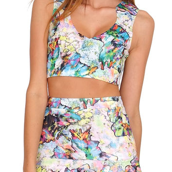 Scent Of Flower Crop Top - Floral Print