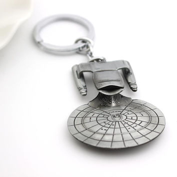Star Trek Spacecraft U.S.S. Enterprise Air Plane Charm Keychain  Key Ring Pendant Film Collection free shipping