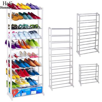 Homdox Portable Shoe Racks Folding Multilayer Non Woven Fabric Combination Dustproof Shoes Shelf Living Room Furniture