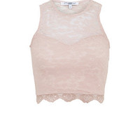 Shell Pink Sweetheart High Neck Crop Top