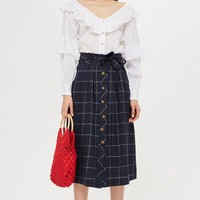 Linen Check Midi Skirt - New In Fashion - New In