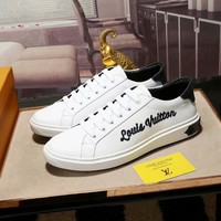 LV tide brand men's embroidery letters breathable low to help casual wild white shoes