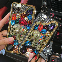 Antique Elephant Crystals Soft Phone Case for iphone 6 6s for iphone 6 6s plus