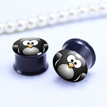 Penguin face ear Plug  , Black Screw on Gauge ear plugs , Black Titanium ear plugs ,0g,00g ,1/2, 9/16, 5/8, 3/4, 7/8,