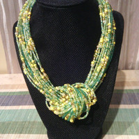 Green Gold Necklace - Knot Necklace - Taipei Green Tree Gold - Multistrand Knotted Necklace