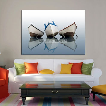 Large Wall Art Canvas Three Boats on Glassy Water with Perfect Reflection