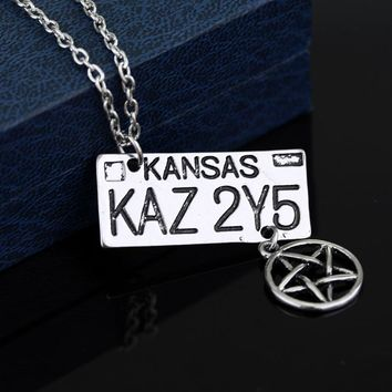 SC Supernatural Dean License Plate Necklace Pendant Supernatural Dean License Pentagram Necklace For fans Souvenir Gifts