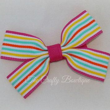 Hot Pink Striped Bow ~ Small Striped Bow ~ Striped Clippies ~ Bright & Colorful Bow ~ Yellow Striped Bow ~ Orange Striped ~ Baby Toddler Bow