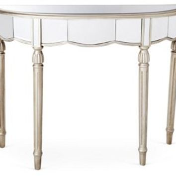 Console Fisk Mirrored  Table, Silver, Console Table