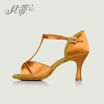 Latin dance shoes woman Salsa BD 2358 Imported satin Shiny dazzling Genuine Leather soles wear-resistant non-slip Deep skin Hot