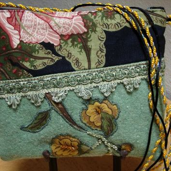 Messenger Bag in Felted Vintage Wool with Swarovski Beads and Applique Flowers