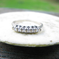 Vintage 1940s 14K White Gold Diamond Wedding or Stacking Band - Charming and Simple Design - For Woman or Man