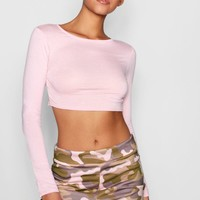 Tall Sasha Long Sleeve Crop Top | Boohoo