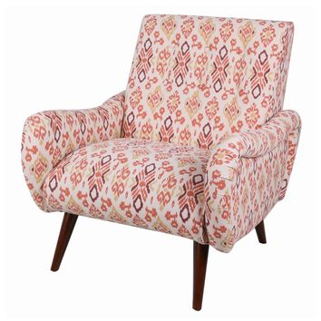 Joanne Tufted Arm Chair Wenge Legs, Sundried Ikat