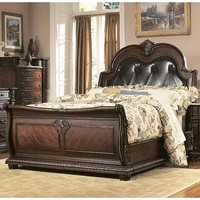 Homelegance Palace Sleigh Leather Bed in Brown Cherry