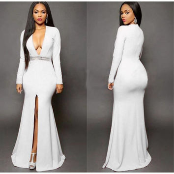 2016 Autumn Simple Elagant Sexy White Evening Gowns Front Hign Split Maxi Dress Bandage Women Sexy V-Neck Club Dress Long Sleeve