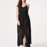 bebe Womens Surplice Hi-Lo Maxi Dress