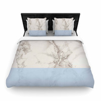 """Suzanne Carter """"Marble And Blue Block"""" Modern Gray Woven Duvet Cover"""