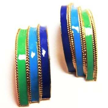 Antiqued Curved Enamel Earrings