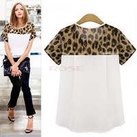 New Fashion Leopard Print Patchwork Women Blouse Shirt Plus Size Ladies Chiffon Blouse Blusas Preta Camisas Tops = 1745491844