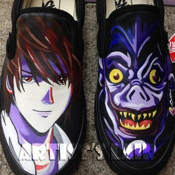 Customizable Anime Inspired Hand Painted Slip On Shoes! Any Size, Vans or Mossimo Bran