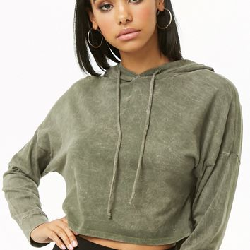 Mineral Wash Hooded Crop Top