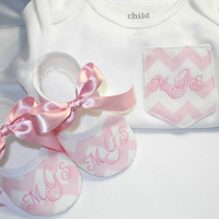 Chevron Pocket Tee - Monogrammed Baby Shoes - Chevron Pocket Onesuit - Onesuit and Matching Shoes