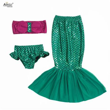 Summer Baby girls dress 3PCS the little mermaid tail princess ariel dress cosplay costume hot selling for girl fancy green dress