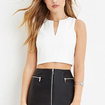 Notched-Neckline Crop Top