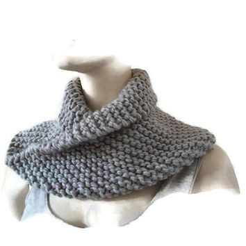 Chunky Knit Cowl, Grey Circle Scarf, Winter Accessory