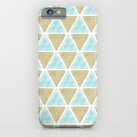 Mint and Gold Triangles iPhone & iPod Case by Heartlocked