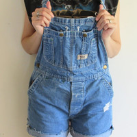 90s Distressed Cut Off Indie Boho Denim Short Overalls