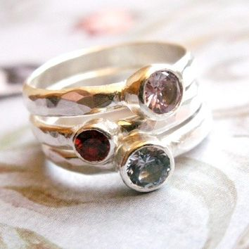 Gemstone Stacking Rings - Birthstone Set, Sterling Silver Stacking Bands, Bridesmade Gift Ring