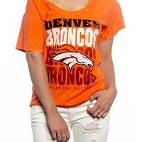 Denver Broncos Off Shoulder Womens Tshirt | SportyThreads.com