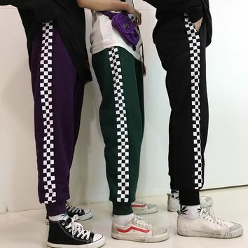 Unisex Sport Casual Tartan Print Thickened Sweatpants Couple Loose Leisure Pants Trousers