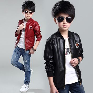 Toddlers and Teenage Boys Bomber PU Leather Jacket 2017 New Fashion Kids Jacket for Boys Spring Autumn Children Outerwear