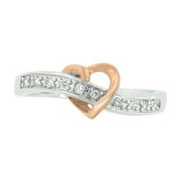 [R]-Rose Gold Heart Silvertone Band