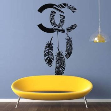 Large Wall Decal Vinyl Sticker Decals Art Design Coco Chanel Logo Paintings Statement Plumage Feather Birds Nib Living Room Bedroom Mural Fashion (M1418)