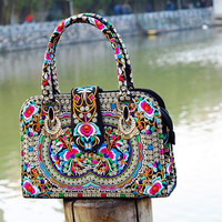 Women Chinese national wind handbag new portable oblique cross shoulder multi-purpose bag female featured embroidered bags