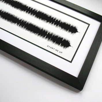 "Rolling Stones ""Start Me Up"" - Sound Wave Band Poster Art Created - Keith Richards and Mick Jagger Music Art Canvas"
