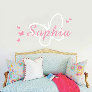 Butterfly Personalized Baby Girls Name Vinyl Butterflies Bedroom Decor Fashion Wall Art Mural Decals Wall Stickers for Kids Room