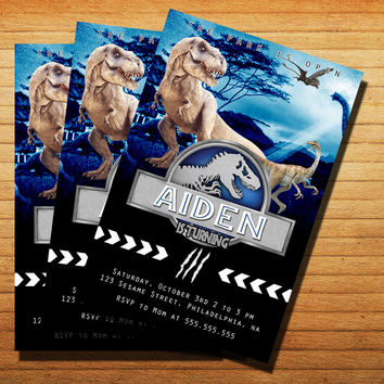 Jurassic World Blue Birthday Invitation Cards 4x6, 5x7, Customized