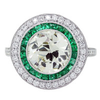 Diamond, Platinum and Emerald Engagement Ring