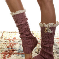 Vintage Leaf Motif Knee High Legwarmers - Multiple Colors