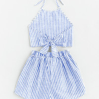Striped Bow Tie Open Back Top With Shorts -SheIn(Sheinside)