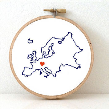 EUROPE map modern cross stitch pattern. European art. DIY European embroidery. Europe Continent