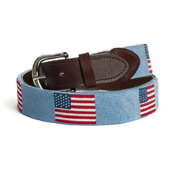 American Flag  Needlepoint Belt (Light Blue Background)