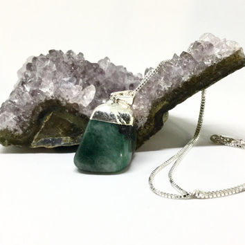 Natural Emerald Necklace Sterling Silver Emerald Pendant Large Raw Emerald Chunky Green Gemstone Tumbled Long Emerald Necklace