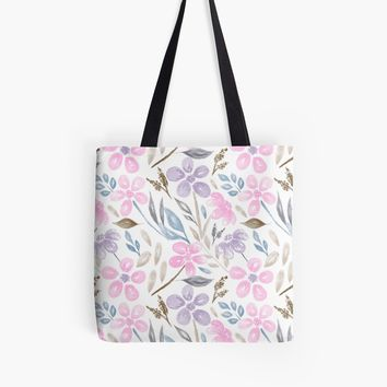 'Pink & Purple Watercolor Floral Pattern' Tote Bag by stefiijuliette