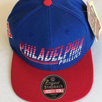 DCCKIHN AMERICAN NEEDLE PHILADELPHIA PHILLIES RETRO RED BRIM SNAPBACK ADJUSTABLE HAT